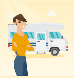 Caucasian woman standing in front of motorhome vector