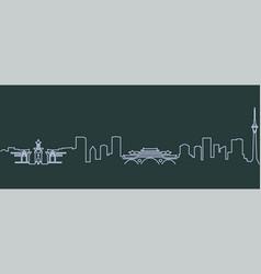 Chengdu single line skyline vector