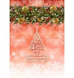 christmas card with snow vector image