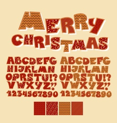 Christmas patchwork style abc font Alphabet symbol vector