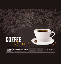 Coffee advertising concept with cup beverage vector