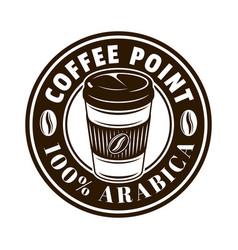 coffee shop round emblem badge label vector image