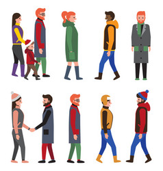 Collection people modern winter apparels citizens vector