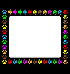 colorful animal paw prints colorful frame vector image