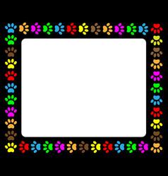 Colorful animal paw prints frame vector