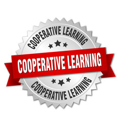 cooperative learning round isolated silver badge vector image