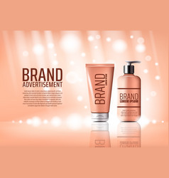 Cosmetic brand advertising poster of cream bottle vector