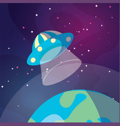 Cute cartoon ufo space ship vector