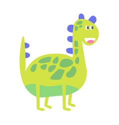 cute funny green dinosaur prehistoric animal vector image