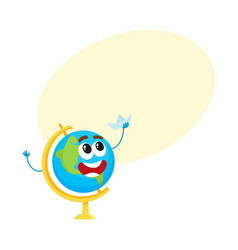 cute funny smiling school globe character holding vector image