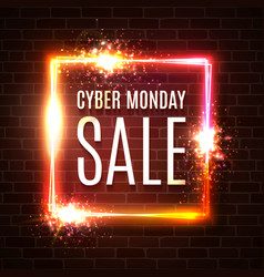 cyber monday sale text in neon laser square shape vector image