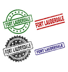 Damaged textured fort lauderdale stamp seals vector