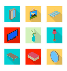 Design of bedroom and room icon set of vector