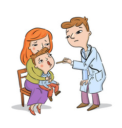 doctor examines child being held mother vector image