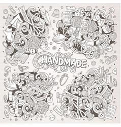doodle cartoon set of handmade object vector image