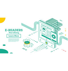 e book reader isometric online education concept vector image