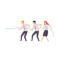 employees pulling end rope at business vector image