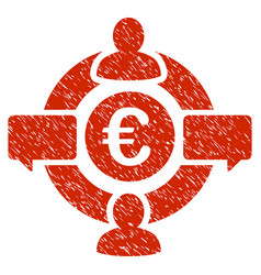 Euro social network icon grunge watermark vector