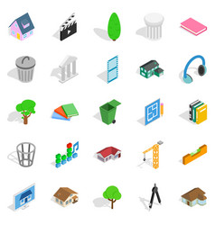 Excellent house icons set isometric style vector