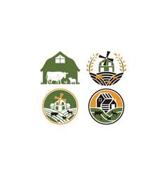 Farm farming label vector
