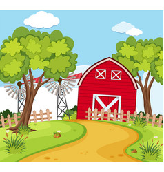 Farm scene with small barn and turbines vector
