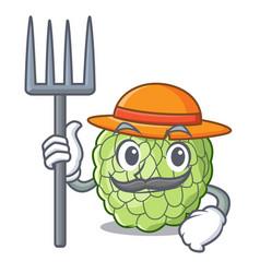 farmer sugar apple fruit isolated on cartoon vector image