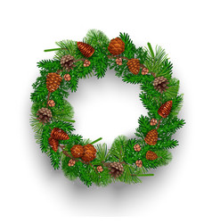 fir needle wreath composition vector image
