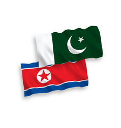 Flags north korea and pakistan on a white vector