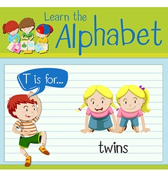 Flashcard letter T is for twins vector image