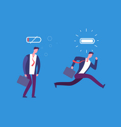 Full of energy and tired businessman powerful vector