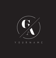 Ga letter logo with cutted and intersected design vector