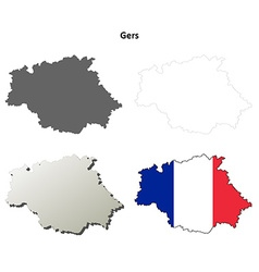Gers midi-pyrenees outline map set vector