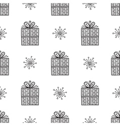 gift and snowflake christmas seamless pattern vector image
