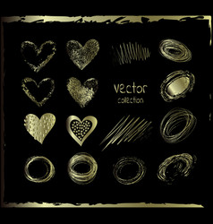 Golden set of the hand drawing hearts vector