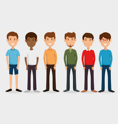 group of men friends characters vector image