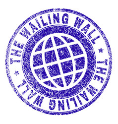Grunge textured the wailing wall stamp seal vector