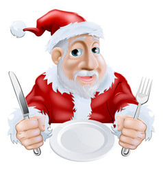 happy cartoon santa ready for christmas dinner vector image