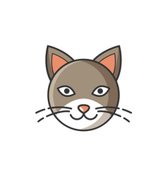 head image of cat bright cartoon isolated vector image