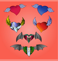 hearts valentines with wings vector image