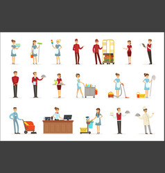hotel staff set for label design colorful cartoon vector image