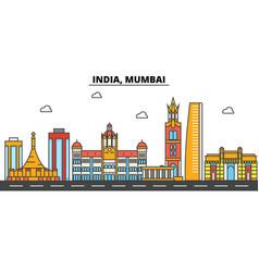 india mumbai city skyline architecture vector image