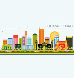 Johannesburg skyline with color buildings and vector