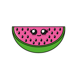 kawaii cute happy wotermelon slice fruit vector image