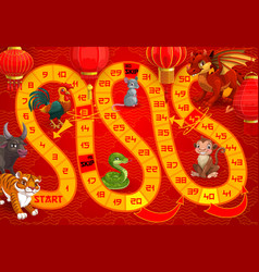 kids boardgame with chinese calendar animals vector image