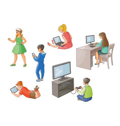 Kids using gadgets technologies back view vector