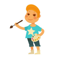 Little boy with palette and brush isolated vector