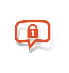 Locked message sticker orange vector