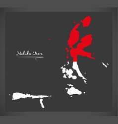 Maluku utara indonesia map with indonesian vector