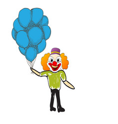 Man with balloons happy day rejoices vector