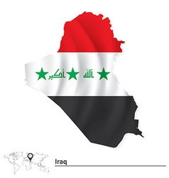 Map of iraq with flag vector